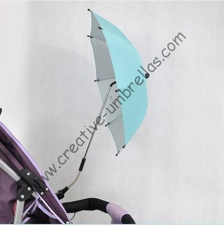 UV protecting,Safe style,Baby stroller umbrella,baby car umbrellas,three in one,8mm steel shaft and fiberglass ribs,clip parasol
