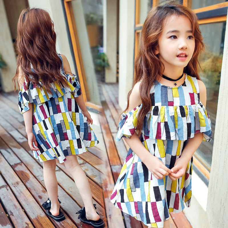 Hot summer new o-neck cotton baby clothes sleeveless Lattice children dress Girl striped lolita style kids knee-length dress