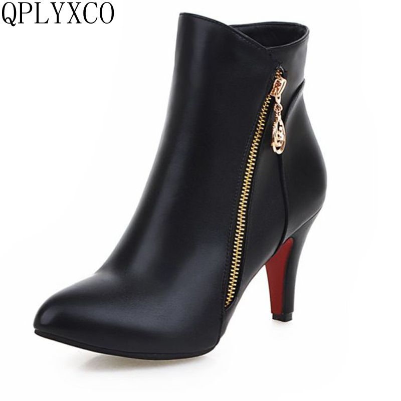 QPLYXCO Brand New Women Platform Ankle Boots Autumn Winter Woman Sexy High Heel Shoes Ladies Zipper Botas Size 33-48 X-16 women ankle boots high heels 2016 fashion shoes woman platform flock zipper winter boots ladies shoes female botas plus size 43