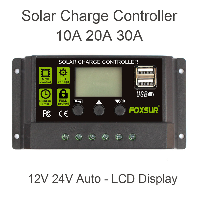 FOXSUR <font><b>Solar</b></font> <font><b>Charge</b></font> <font><b>Controller</b></font> 12V 24V Auto LCD Display with Dual USB 5V Output <font><b>30A</b></font> 20A 10A <font><b>PWM</b></font> <font><b>Solar</b></font> Charger Regulator image