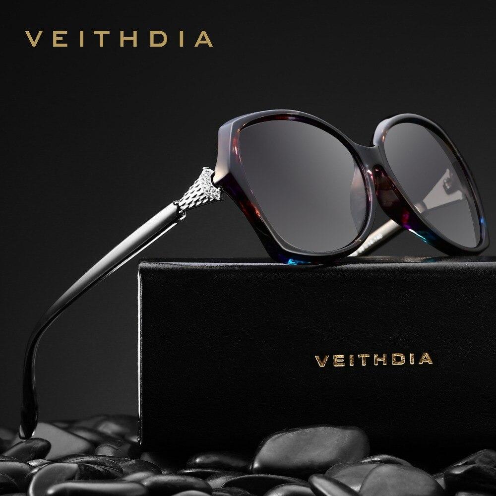 VEITHDIA Retro Glasses Crystal Polarized Womens Ladies Luxury Brand Designer Eyewear