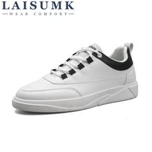 2019 LAISUMK Mens Shoes Casual Genuine Leather Shoes Fashion Waterproof PU Surface Lace-Up White Men Flats Spring Autumn Shoes
