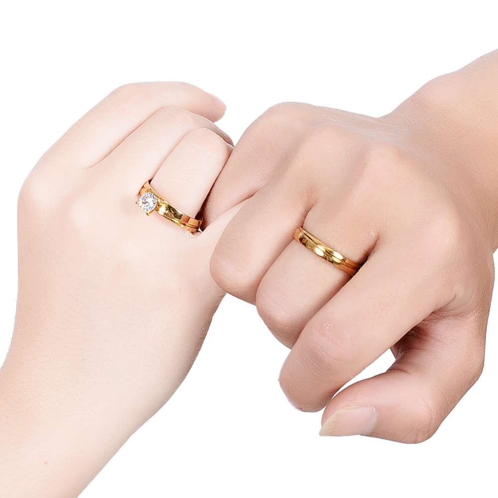 2 Style Grade Rhinestone Fashion Gold Color Stainless Steel Double Ring Couple Models New Fashion