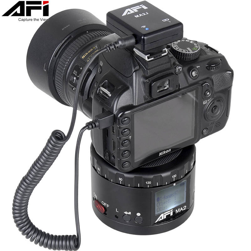 AFI MA2 360 Time Lapse Rotador Câmera de Vídeo Cabeça Panorama Tripé LED Para Canon Nikon Sony DSLR Telefone 360 Gopro timelapse Panning