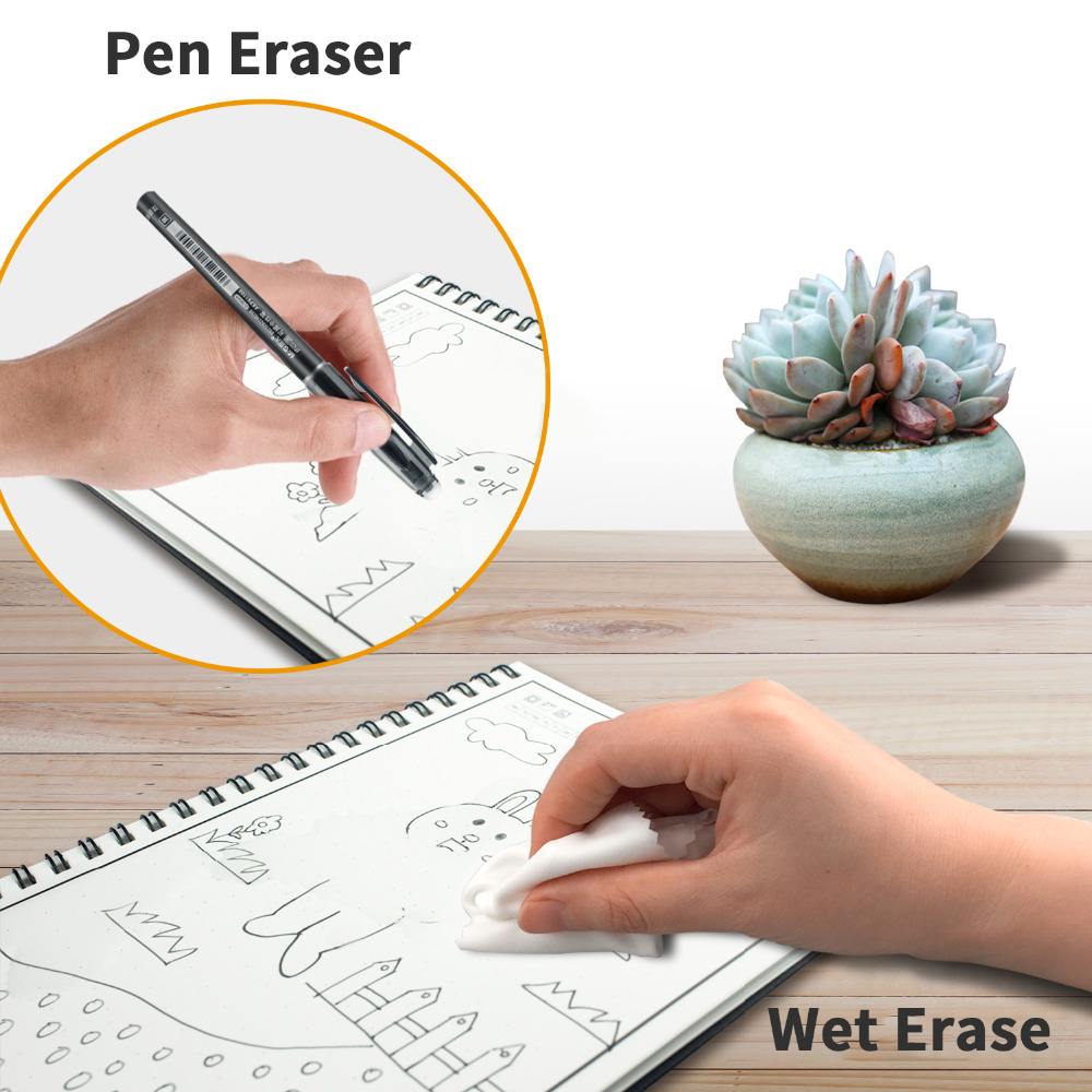 NEWYES A6 size Smart Reusable Erasable Notebook Microwave Wave Cloud Erase Notepad Note Pad Lined With Pen save paper 4