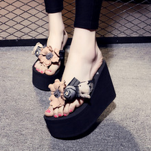 Slippers Women Female Shoes Summer New Handmade Flowers Korean Flip-flops Beach Non-slip Super High Heel