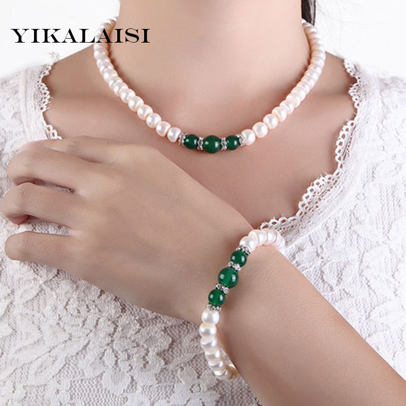 YIKALAISI 2017 100% Natural Freshwater pearl Jewelry Sets 925 sterling silver jewelry wedding agate jewelry set for women crystal jewelry set sterling silver jewelry 100% 925 formal jewelry set natural freshwater pearl