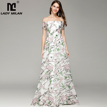 New Arrival 2019 Womens Sexy Off the Shoulder Floral Printed A Line Long Fashion Organza Party Prom Casual Dresses