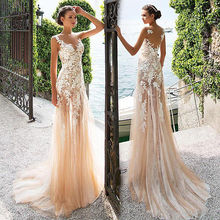 Tulle / With Lace Appliques Evening Dress 2019 New Mermaid See-through Prom Gown dress see through longline lace dress