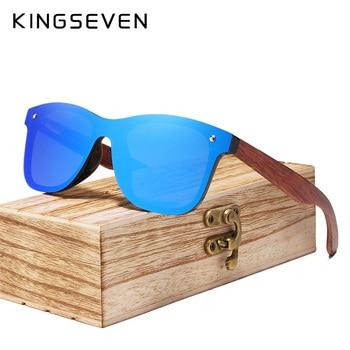 KINGSEVEN Brand 2019 Wooden Vintage Sunglasses Men Polarized Flat Lens Rimless Square Frame Women Sun Glasses Oculos Gafas 1