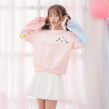2017 new mori girl Original design spring sweet loose sweatshirt o-neck pullover hoodie soft top outerwear