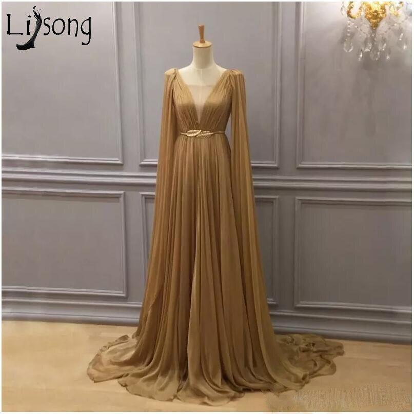 2019 robe formelle arabe en mousseline de soie or tenue de soirée col plongeant dubaï une ligne en mousseline de soie plissée longueur de plancher robes de bal - 2