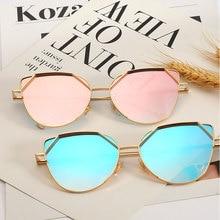 Sexy Retro Cat Eye Sunglasses Fashion Big Frame Couple Sunglasses Gradient Lens Colorful Film Metal Frame Glasses Очки Женские