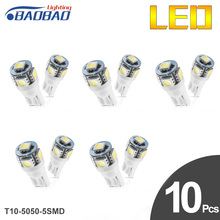 10pcs T10-5050-5SMD Car Clearance Lights top quality W5W Reading Light 194 License Plate Light car styling Dome Light yumseen 10pcs car styling t10 w5w cob led 2w pure white clearance light marker lamps license plate lights new arrivval