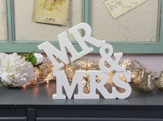 free shipping mr mrs wedding sign wooden letters wedding decor head tablechair backers wall hangings script vintage white