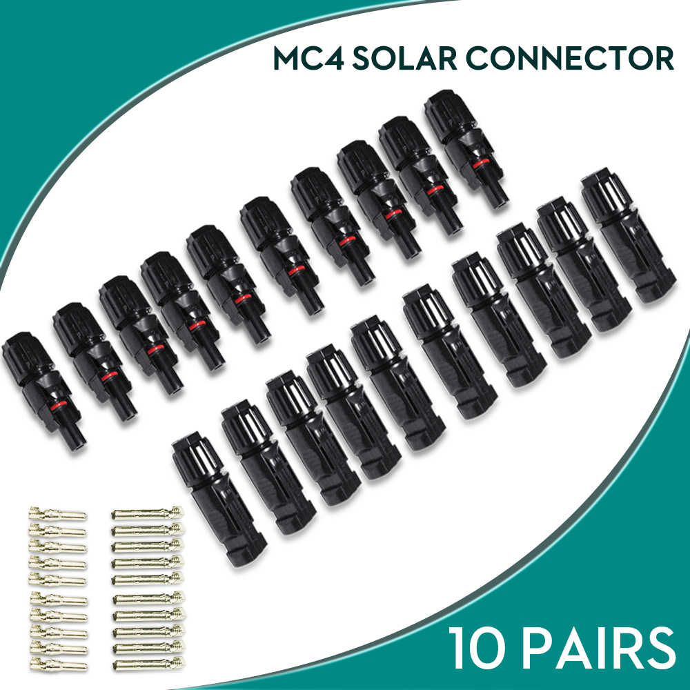 10 Pairs MC4 Connector Solar Connector MC4 Solar Panel Connectors Male & Female IP67 TUV 1000Vdc UL 600Vdc