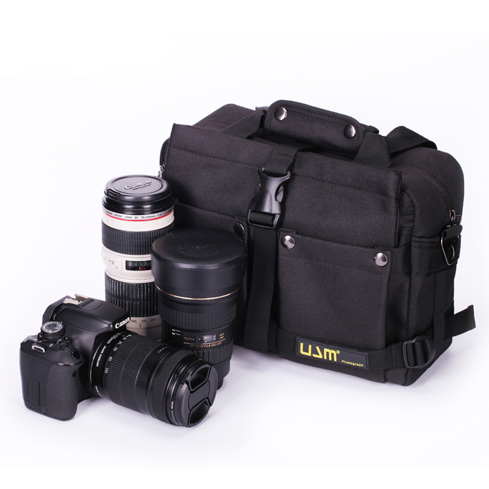 ФОТО Durable Large Capacity Waterproof Camera Case Bag Shoulder Messenger Bag + Rain Cover for Canon Nikon Sony DSLR With 3 Lenses