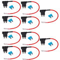 EE support 10Pcs 12V Standard Add A Circuit Fuse Tap Piggy Back Blade Holder Plug Car XY01