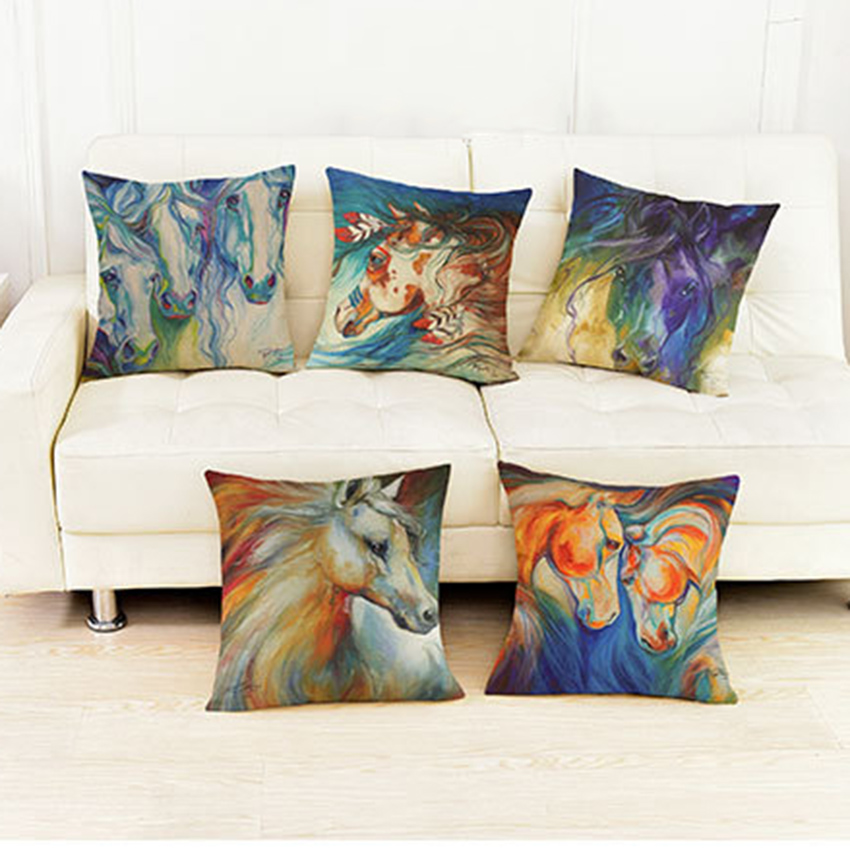 Hand Color Painting Horse Pillows For Home Decoration
