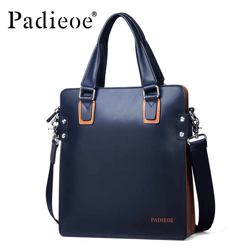 Padieoe Fashion Luxury Designer Brand Men Bag Genuine Leather Handbag Business Male Shoulder Messenger Bags padieoe new arrival luxury genuine cow leather men handbag business man fashion messenger bag durable shoulder crossbody bags