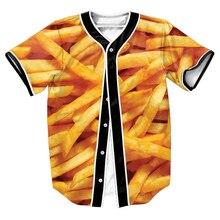 MÄNNER Französisch Frites Jersey Sommer Stil mit knöpfen 3d drucken Hip Hop Streetwear männer shirts tops baseball shirt OUTWEAR T