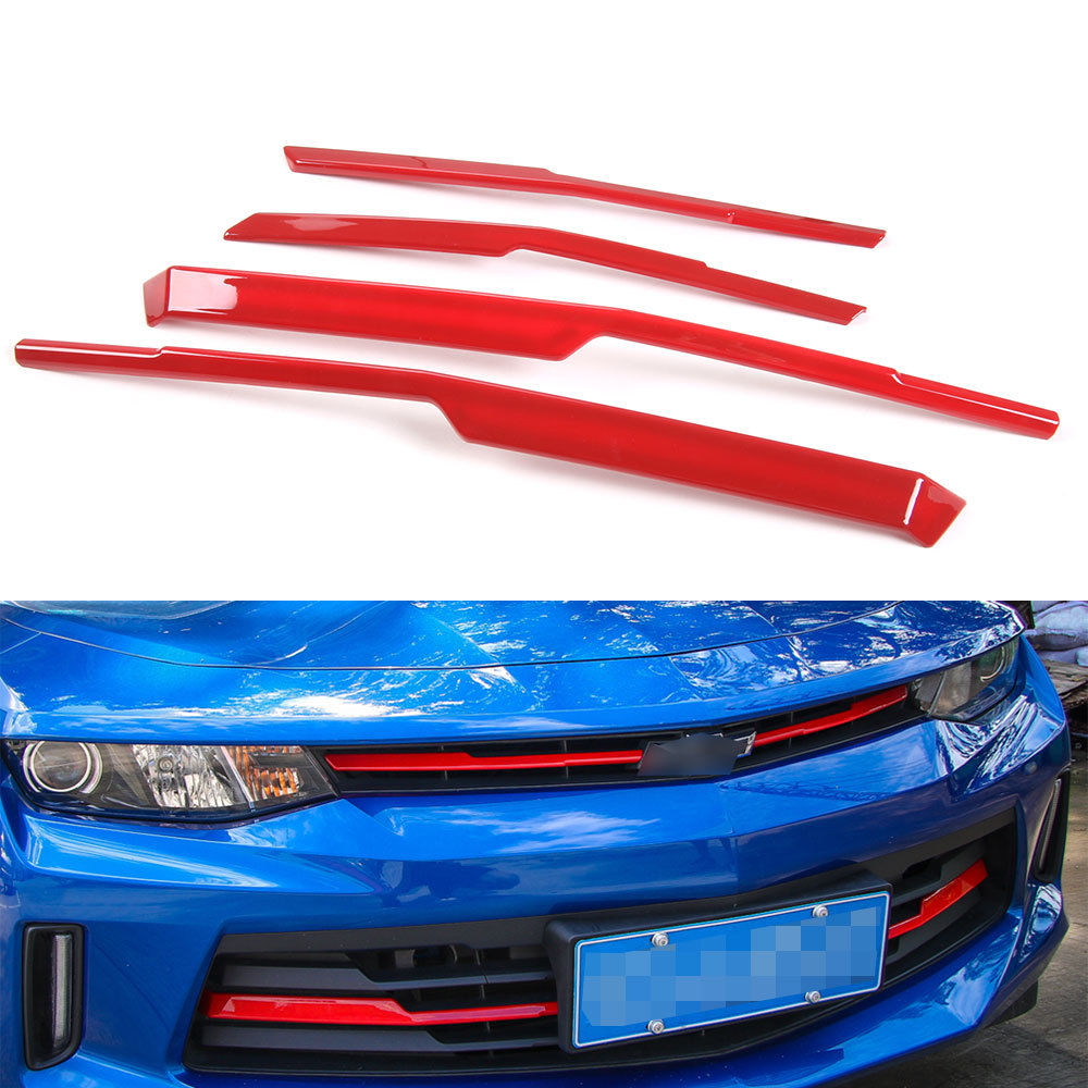 4x Car Front Grille Insert Strip Molding Cover Trim Decorative Sticker Red Fit For Chevrolet Camaro 2017+Interior Accessories accessories for chevrolet camaro 2016 2017 abs carbon fiber style the co pilot central control strip molding cover kit trim