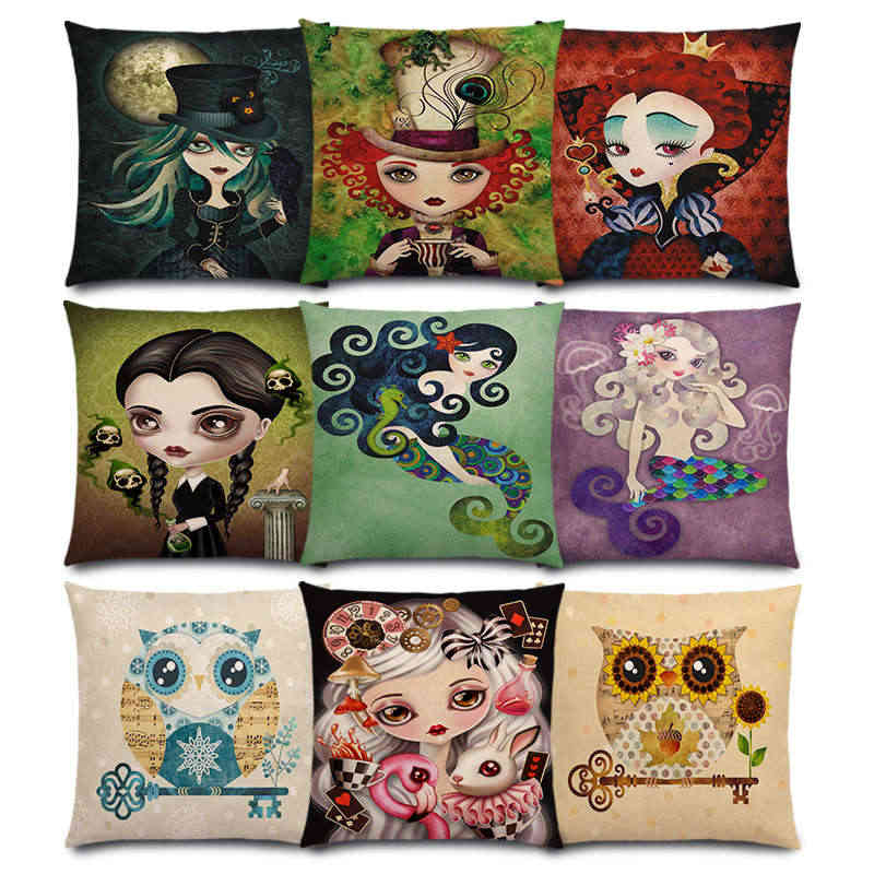 Alice Mermaid Fallen Angel Lady Hatter Ravens Moon Queen Clown Girl Pierrette Countess Owl Tốt Cushion Cover Pillow Case