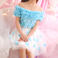 Princess dress sweet romantic elegant three-dimensional flower slit neckline short-sleeve gauze puff one-piece dress