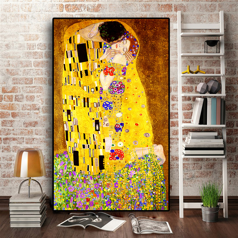 Wall Decor Gustav Klimt Lady With Hat And Feather Boa Leather Print Framed Leather Art |Home Interior Picture Decorative art