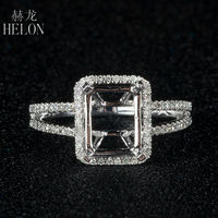 6x8mm Cushion Cut Pave 0 3ct Natural Classic Eternity Engagement Semi Mount Ring 14K 585 White