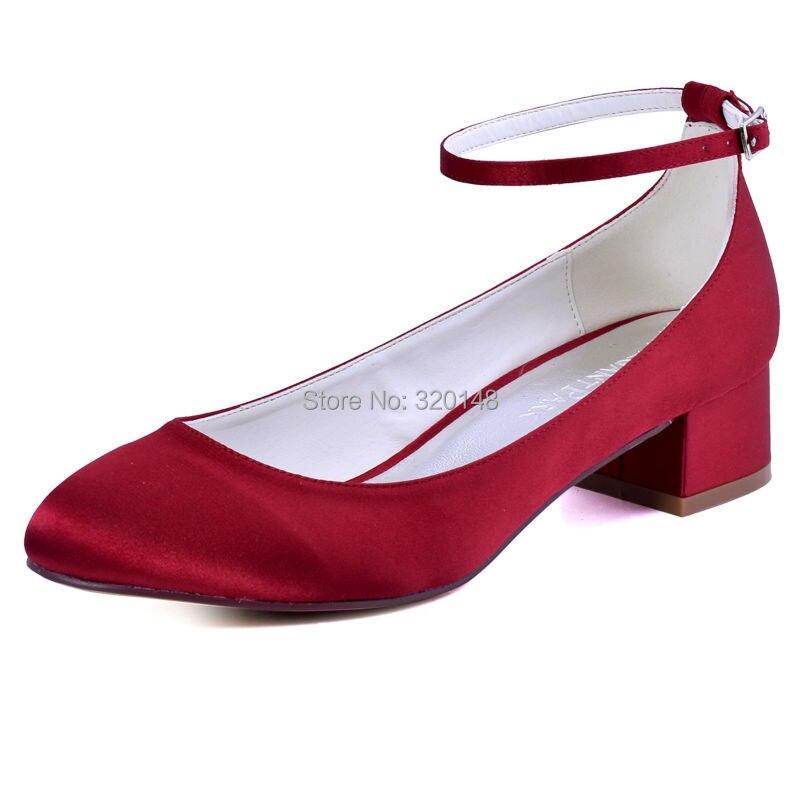 ФОТО FC1613 Shoes Woman Brugundy Closed Toe Block heel Ankle Strap Low Comfort Heel Pumps Satin Bride Lady Wedding Bridal Party Shoes