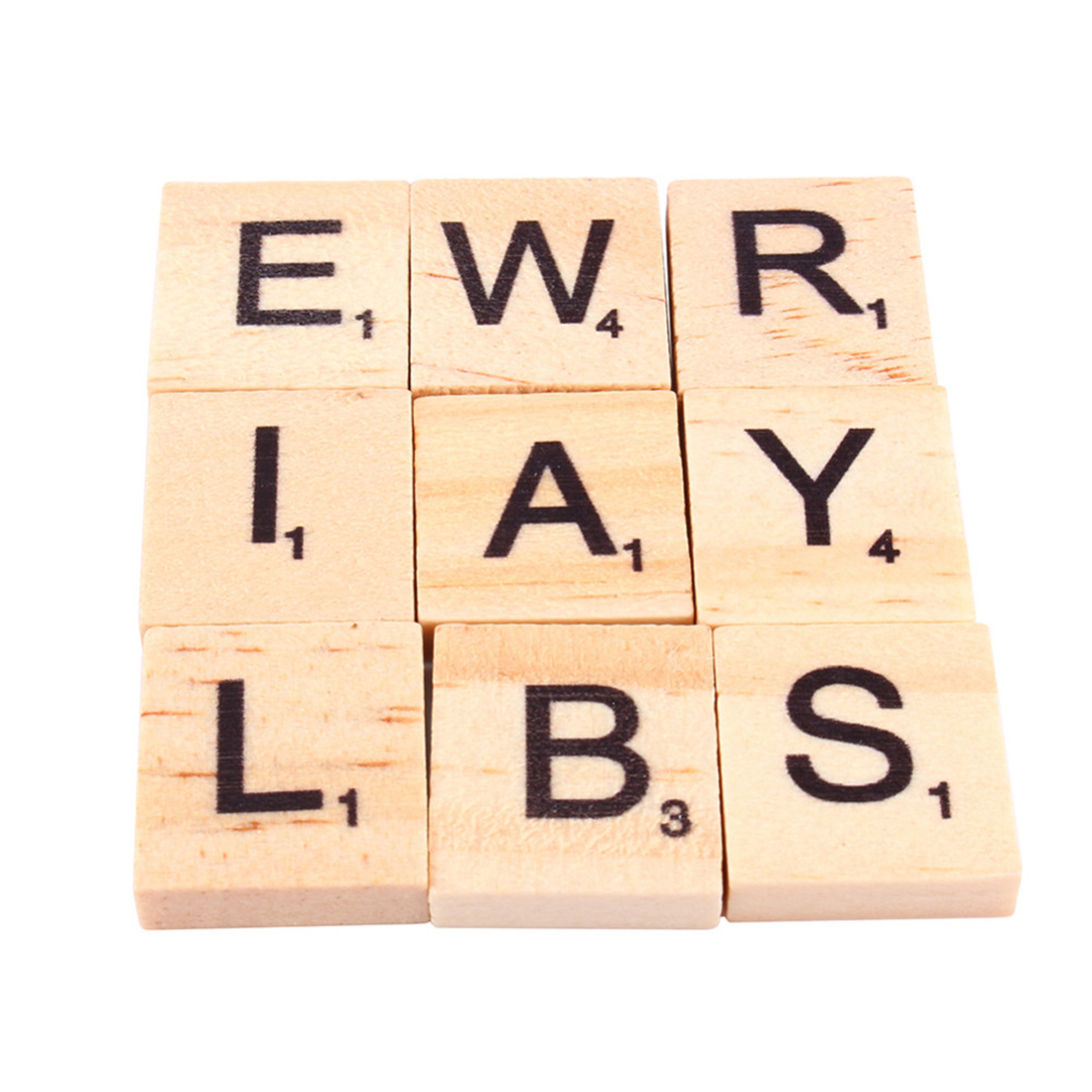 Great Useful 100pcs Eco-friendly Wooden Alphabet Scrabble Tiles Black Letters & Numbers For Crafts Wood