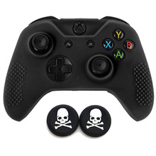 Gamepad กรณียางซิลิโคนนุ่มป้องกันผิวฟรีหมวกกะโหลกศีรษะสำหรับ Microsoft Xbox One X Xbox One S slim CONTROLLER