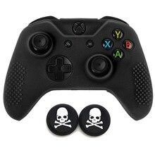 Gamepad case miękka silikonowa guma ochronna skórzane etui pokrywa darmowe czaszki czapki dla Microsoft Xbox one X Xbox One S Slim kontroler
