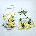 Bebê recém-nascido Meninas Rompers Moda Roupa Do Bebé que define 3 pçs/set romper + vestido + headband do bebê meninas do estilo fresco roupas