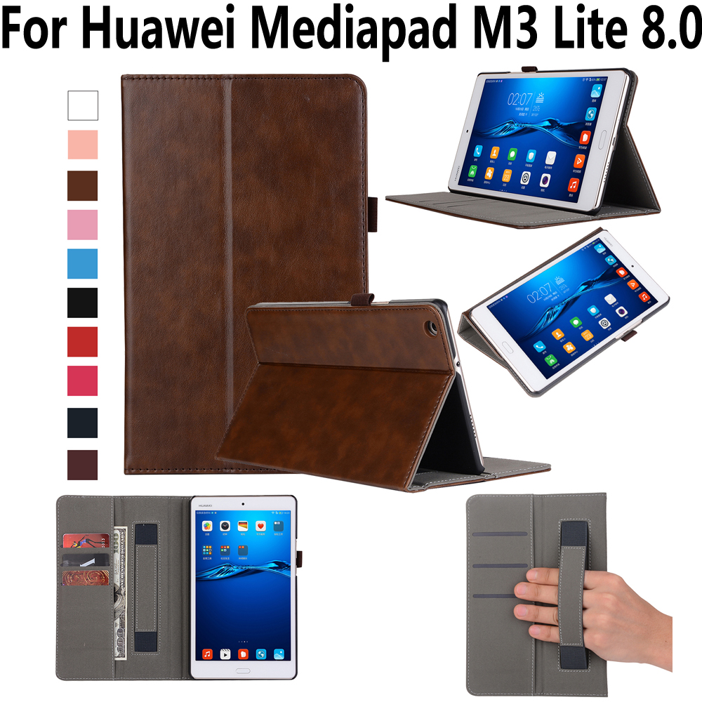 Hand Hold Premium Leather Case For Huawei Mediapad M3 Lite 8.0 CPN-L09 CPN-W09 Cover Stand Smart Case for Huawei M3 Lite 8.0 8 for huawei mediapad m3 lite 8 8 0 cpn w09 cpn al00 cpn l09 lcd display touch screen digitizer assembly