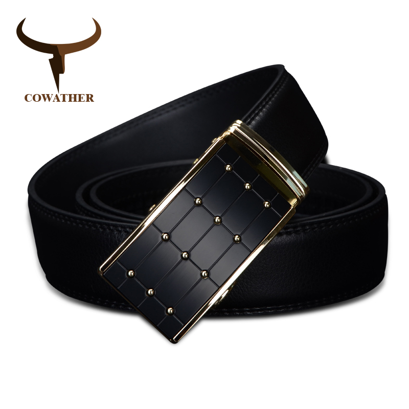 COWATHER 2019 high quality cow genuine fashion leather men`s belts for men strap automatic buckle cinto masculino110-130cm long