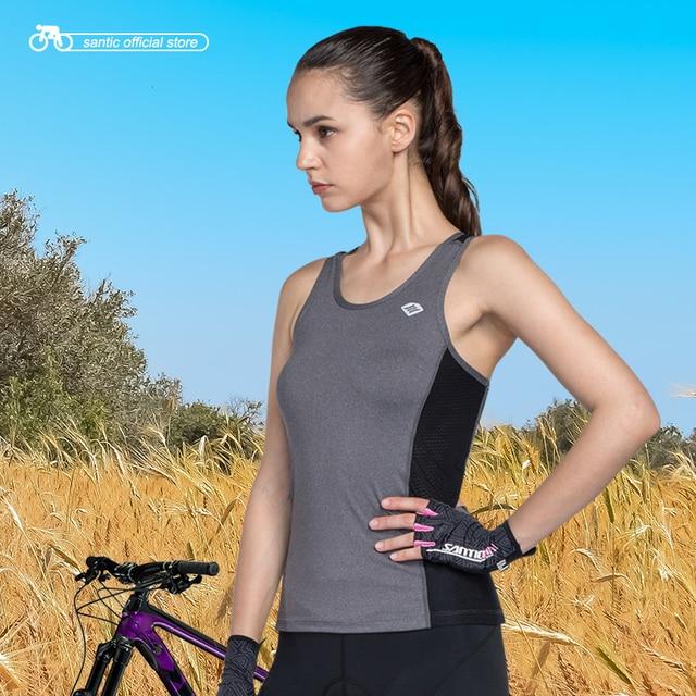 Santic Для женщин велосипедный жилет без рукавов SANTIC N-FEEL высокотехнологичные ткани Светоотражающие Велоспорт крутые Топы Running жилетка для езд...