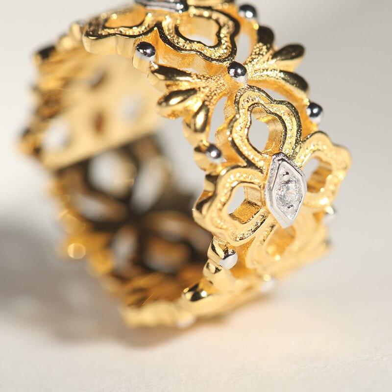 CMajor bijoux en argent Sterling chanceux guirlande fleur vigne feuilles Vintage creux anneaux pour les femmes - 4