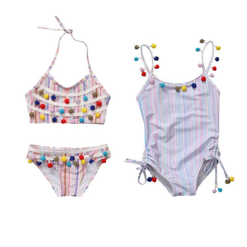 Hot Sale Summer Kids Baby Girls One Piece Tassel Striped Swimsuit Bikini Set Bathing Suit Swimwear Swimmer Bather Clothes