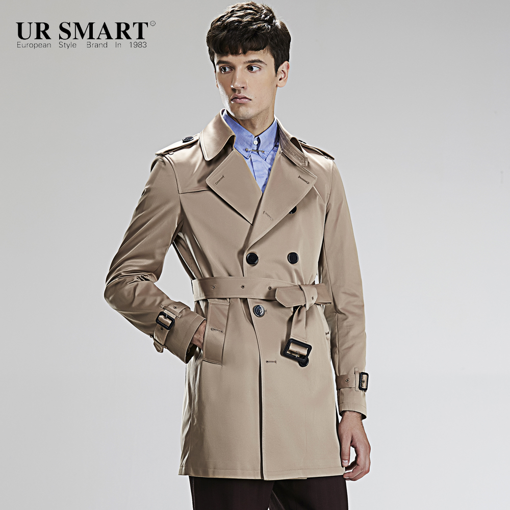 URSMART authentic new winter double-breasted men long windbreaker Linen tunic male trench coat