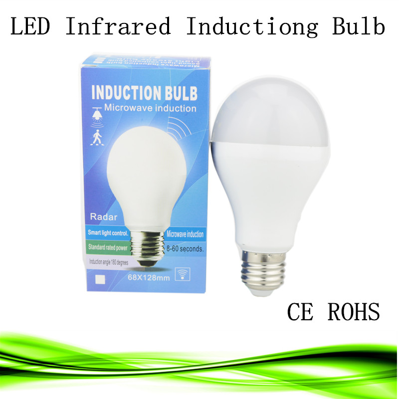 1X LED PIR Infrared infrared body sensor light E27  5W 7W 9W 15W 5730SMD human induction Lamp Bulb 110v 220v Motion Detection b22 5 7 9w 5730 smd auto smart motion pir infrared sensor body lamp detection led light lamp bulb pure warm white 85 265v