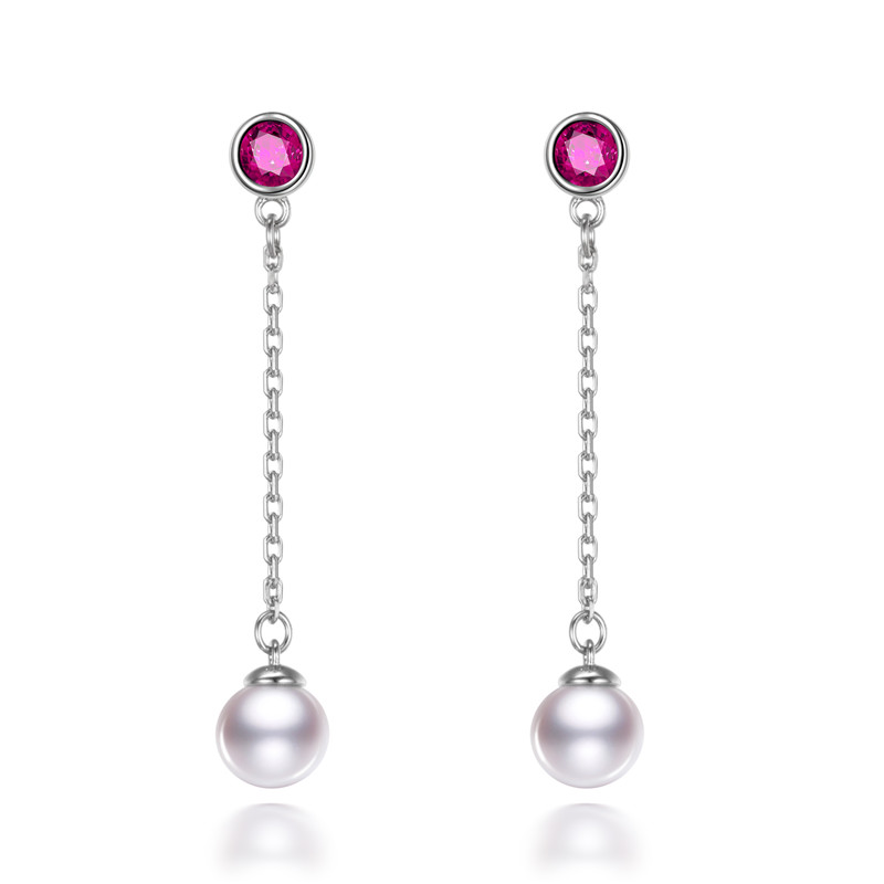 AAA 6.5 7mm perfect roun freshwater pearl 925 sterling silver earring real natural cultured pearl earring jewelry gift for women