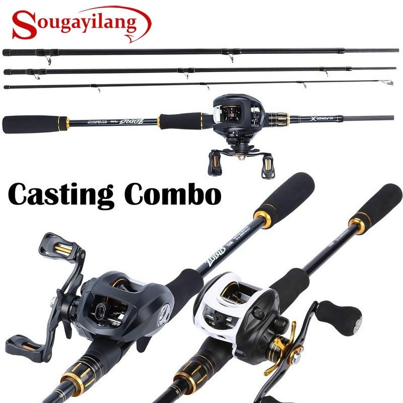 Sougayilang BaitCasting Fishing Rod Kit Carbon 4 Section Portable Casting Fishing Rod and Baitcast Reel Combo