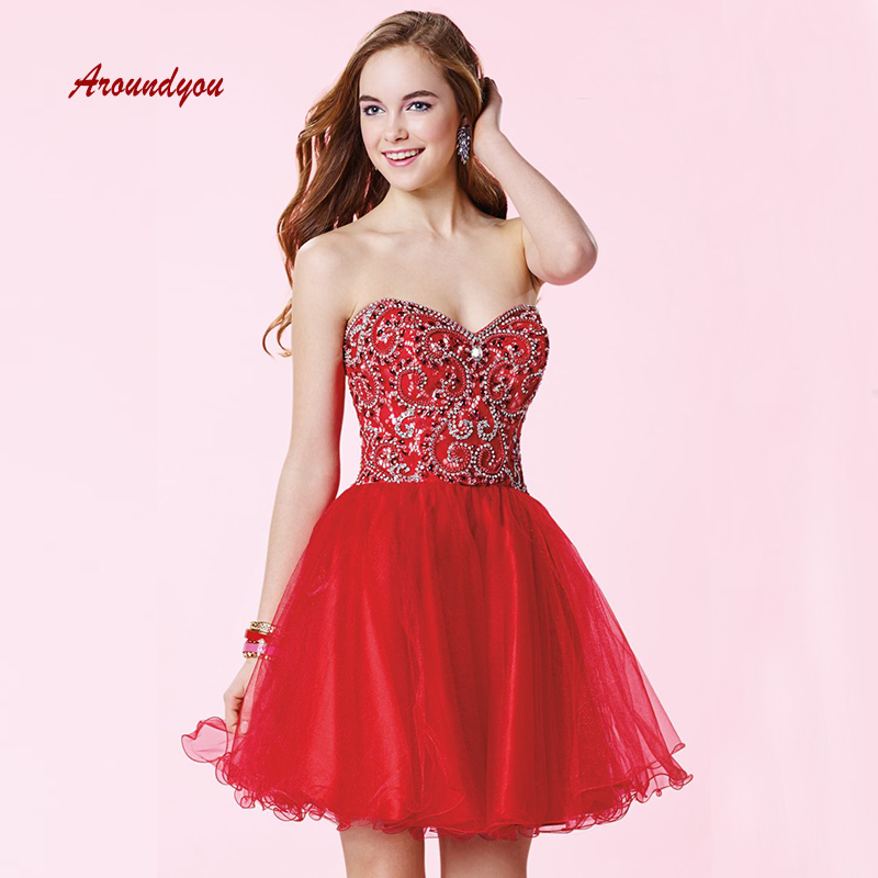 Sexy Red Short   Cocktail     Dresses   Plus Size Luxury Semi Formal Graduation Prom Party Homecoming   Dresses