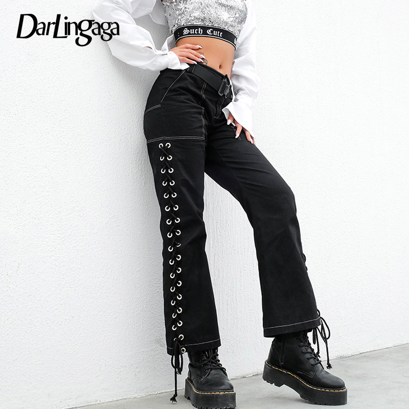 Darlingaga Cotton Streetwear Straight High Waist Pants Women Bandage Trousers Side Split Lace Up Women's Pants Bottom Pantalones