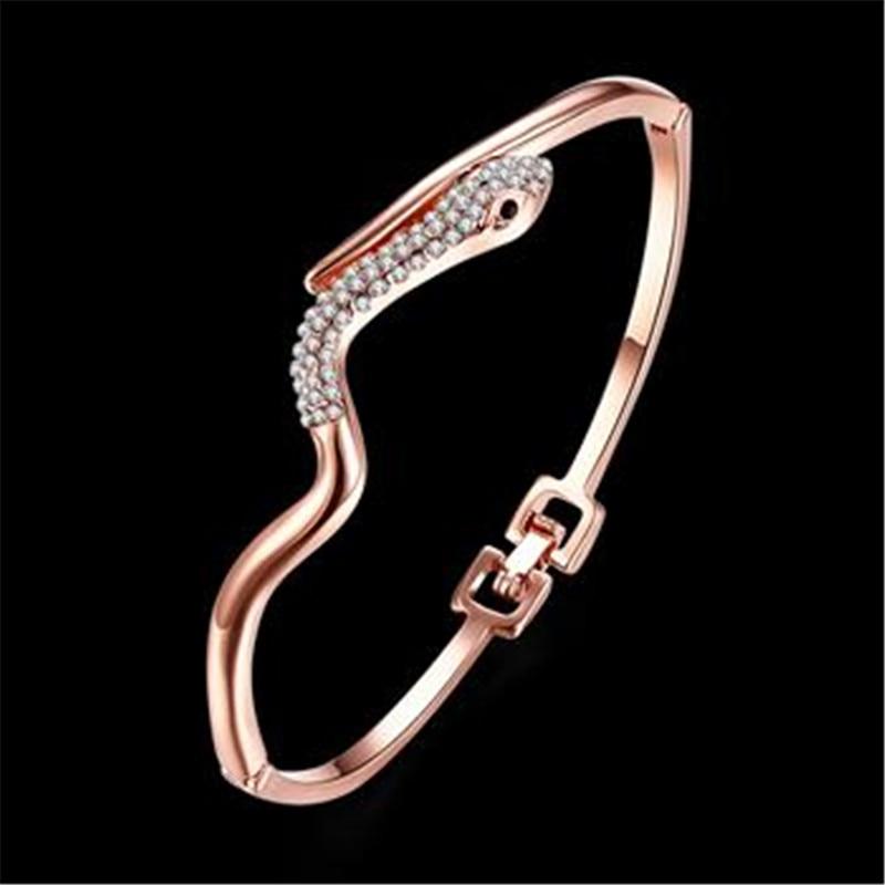Браслет Дизайн для Для женщин Мода Сейф Пряжка Стиль изделия из розового золота Цвет ювелирные изделия Золотой Чешский drill41