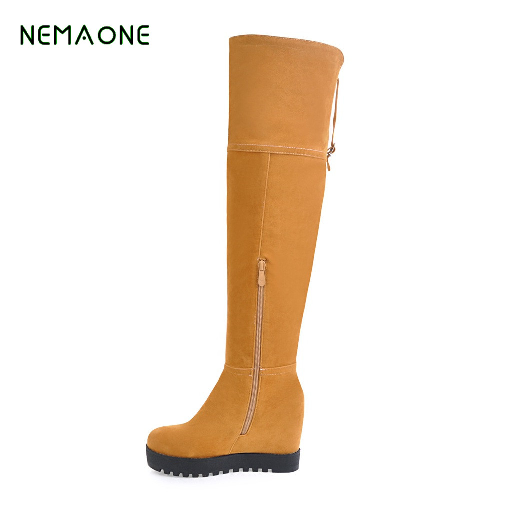 NEMAONE New Arrive Superstar Over Knee Boots Women Fashion Winter Boots Woman Shoes Autumn Thick Heel Thigh High Boot Female superstar flock stretch boots runway fashion winter shoes med heel thigh high boots lace up bowtie women over the knee boots l15