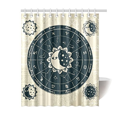 Sun and Moon Home Decor, Vintage Zodaic Constellations Polyester Fabric Shower Curtain Bathroom Sets 60 X 72 Inches