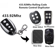 duplicator V2, Ditec GOL4, Nice Flors, Nice One Replacement Remote Control Fob 433.92 MHz rolling code nice flo1 flo2 flo4 garage door remote control replacement duplicator